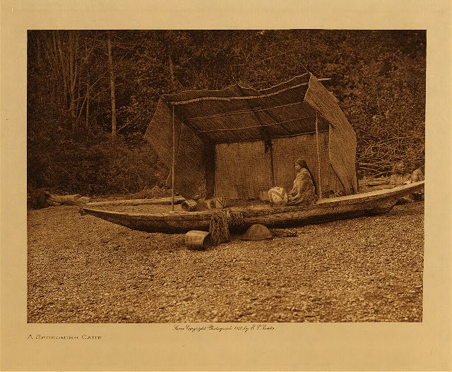 A Skokomish camp by Edward S. Curtis. 1912.