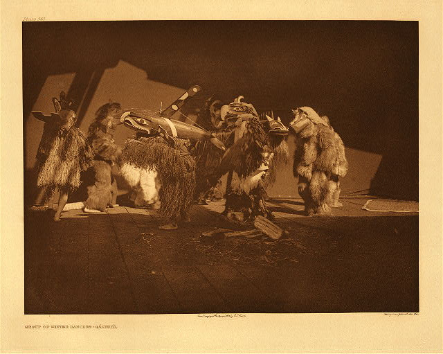 Group of winter dancers – Qagyuhl by Edward S. Curtis. 1914.
