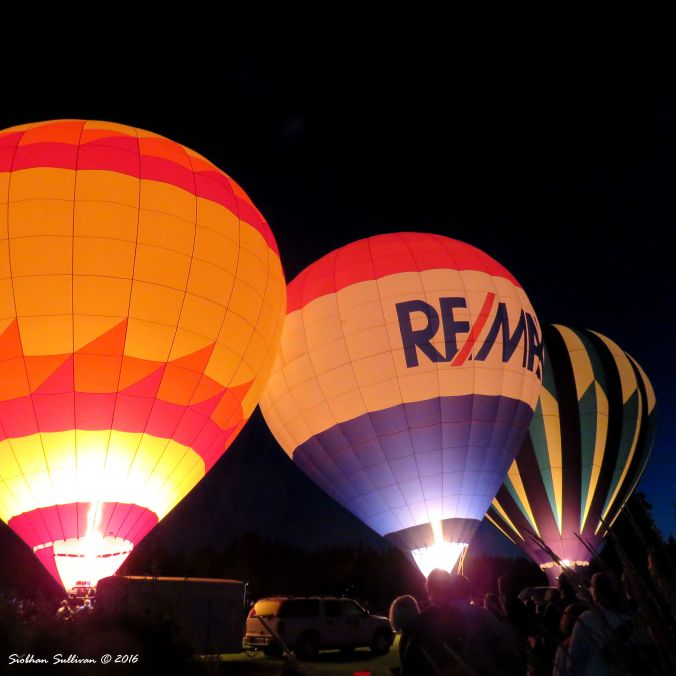 Night Glow multiple hot air balloons in Bend, OR 22 July 2016