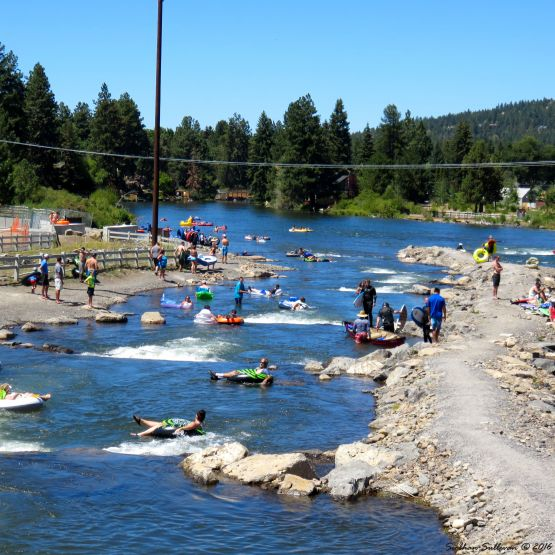 Innertubers at Bend Whitewater Park, Oregon