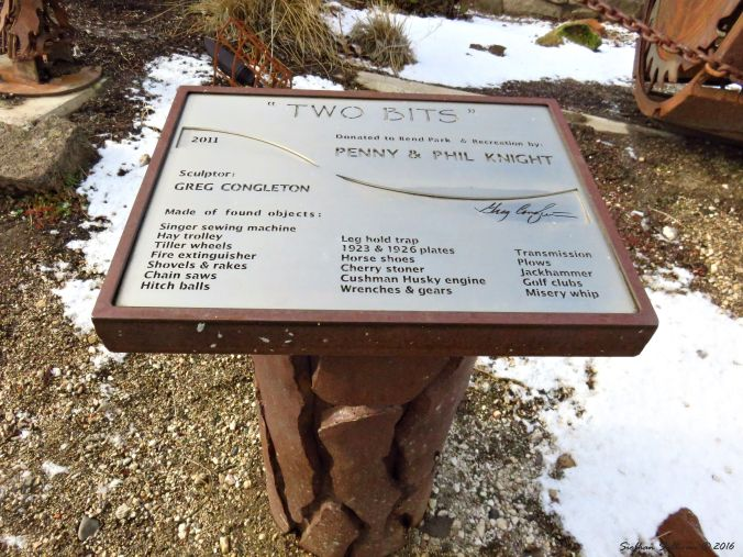 Sign for Two Bits Sculpture, Bend, Oregon 4Dec2016